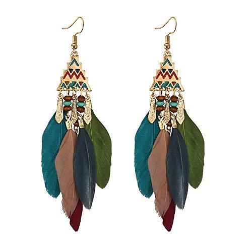 MOTOCO Frauen-bosnische Perle-Legierung Feder-Temperament-lange Art-Ohrringe(Mehrfarbig)