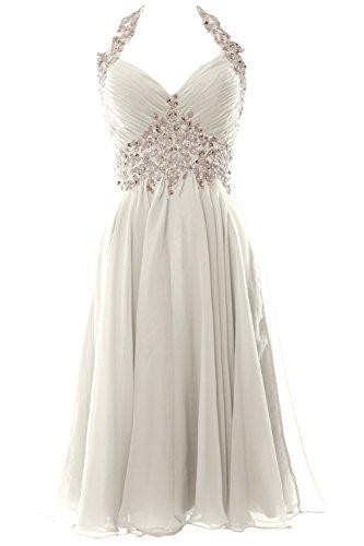 MACloth Gorgeous Short Prom Ball Gown Halter Wedding Party Formal Dress (Custom Size, Elfenbein)