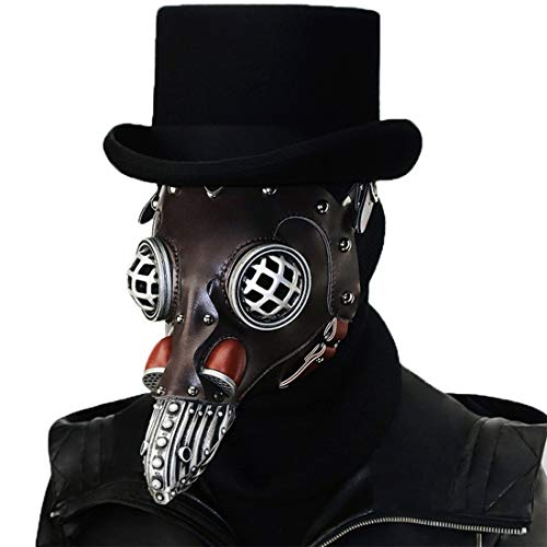 GRYY Lange Nase Vogel Schnabel Pest Doktor Maske - Steampunk Halloween Kostüm Requisiten Maske,Brown-OneSize (Party-stadt Schwarzen Maske Der)