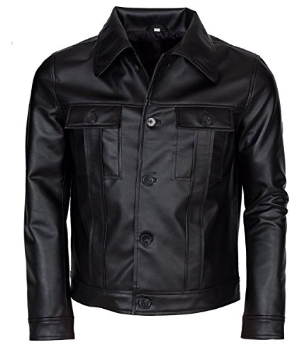Feather Skin Männer Kleidung Elvis Presley Inspired Schwarz Rockstar Echte Lederjacke- L