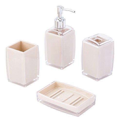 4-teiliges Badezimmer-Set, modernes Design, blickdicht, Off-White