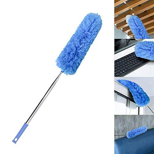 AIRLIWELL Dehnbarer Staubwedel Duster mit Edelstahl Teleskop Stange, Mikrofasern Staubwischer Staubbesen mit Verbiegbare Eckbesen, Entfernt Mühelos Staub und Spinnweben, Extra lang 78-245cm(Blau)