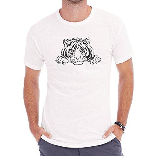 Tiger Big Cat Animal Cute White Black Herren T-Shirt Weiß