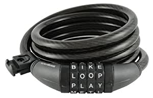 Wordlock CL-400-BK 4-Letter Combination Bike Lock Cable, Black, 6-Feet Cycle Gear, V?lo, Bicyclette