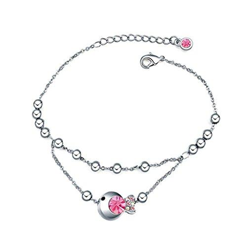 Aooaz placcato in oro bianco braccialetto delle donne, matrimonio bracciale a maglies CZ Zirconia cubica, Principessa pesce rosa rosso