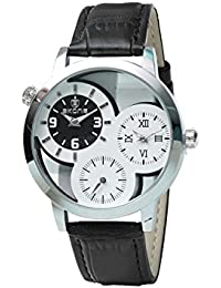 Skone 9274-2 Multifunction White Dial Leather Strap Wrist Watch / Casual Watch - For Men's