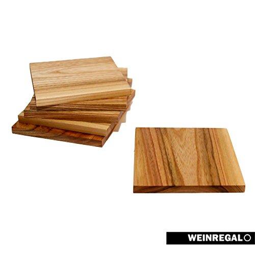 WEINREGALO Untersetzer Ulme | 10 x 10cm für Gläser aus Holz - 6er Set - Glasuntersetzer für Tisch und Bar (Aus Nussbaum Tisch Stück 2)