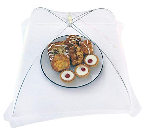H&S Set of Two, White, Large, Folding, Food Covers Mesh Pop Up, Fly Screen for Tea Parties, Picnic, BBQ and Many Other Gatherings to Protect Your Food from Flies and Insects