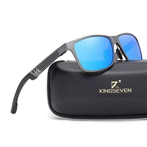 Kingseven Carbon Sonnenbrille Rechteckig UV400 Polarisiert HD Vision Outdoor Sommer Sport Trekking Auto (Gunmetal, Blau)