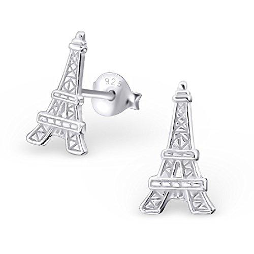 Laimons Damen-Ohrstecker Damenschmuck Eifelturm glanz matt Sterling Silber 925 (Eiffelturm Ohrringe)