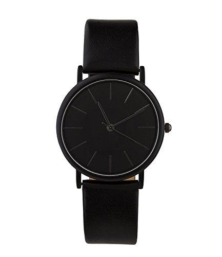 SIX Unisex-Uhr, verstellbares Armband, rundes Ziffernblatt, matt, schwarz (274-373)