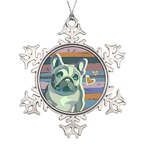 wendana Valentinstag Mops Hund auf rustikalem Gemälde Hintergrund Zinn Weihnachten Ornamente Andenken Urlaub Dekoration Ornamente Weihnachtsbaum Ornament Neuheit Geschenke -