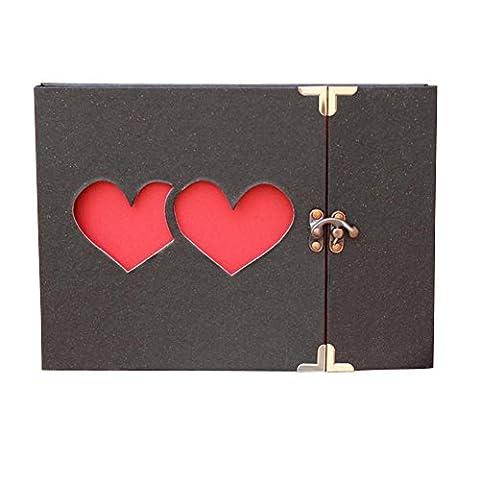 Yeelan Photo Album DIY Scrapbook with Lock (two heart,hollow style)