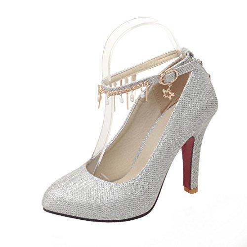 AIYOUMEI Damen High Heels Knöchelriemchen Pumps mit Schnalle Stiletto Stiletto Stiletto High Heels Hochzeitsschuhe Silber 8d4764