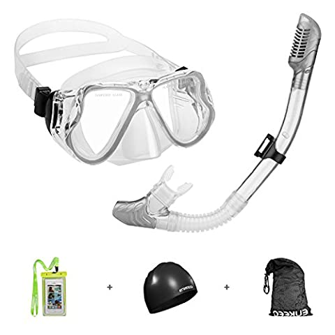 Enkeeo Snorkel Set with Tempered Glass Diving Mask and Dry Snorkel for Wide View Scuba with Swimming Cap, Waterproof Phone Case and Gear