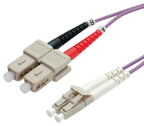 VALUE LC/SC LWL Netzwerkkabel | Glasfaser Kabel | OM4 Duplex Patchkabel in violett | 1 m