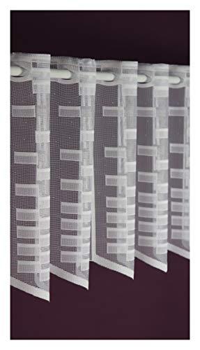 Albani Scheibengardine nach Maß Jacquard- Lamellenpanneau Panneaux Bistrogardine Höhe 30 cm - Breite der Gardine durch Stückzahl in 14 cm Schritten wählbar weiß