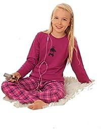 Warmer Mädchen-Schlafanzug mit karierter Flanellhose pink Grössen 104 bis 164 lieferbar