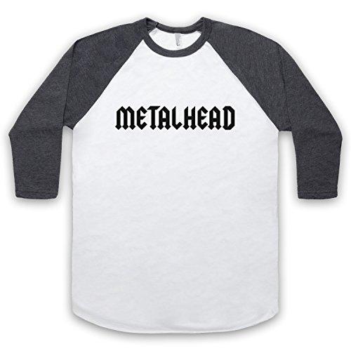 Metalhead Heavy Metal 3/4 Hulse Retro Baseball T-Shirt Weis & Dunkelgrau