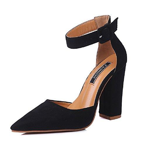 Hafiot scarpe tacco alto donna sandali largo eleganti chiuse sexy stringate punta matrimonio scamosciato estive sposa 10cm sandalo rosa nero rosso marrone 34-43 bk39