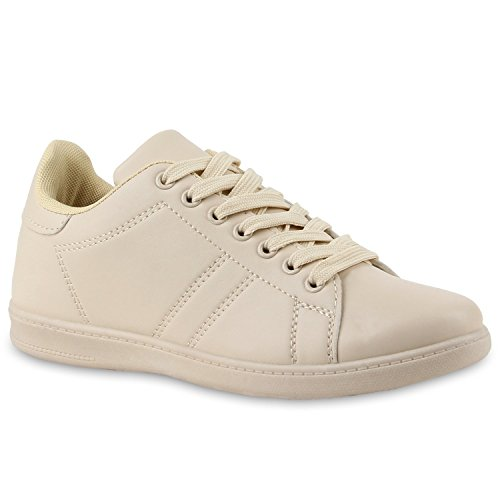 Stiefelparadies Damen Sneakers Sneaker Low Cap Sport Leder-Optik Freizeit Schnürer Prints Samt Trainers Allyear Schuhe 110732 Creme Streifen 37 Flandell (Cap Streifen-print)