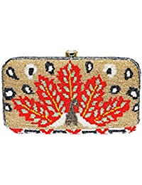 Wowtrendy Hand Embroidery Women's Box Clutch - Beige And Orange Color - Handcrafted Clutch, Handembroidered Clutch...