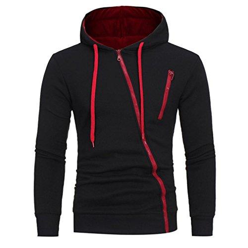 Winter Mantel Herren, LHWY Mode Männer Langarm Hoodie Hooded Sweatshirt Tops Jacke Mantel Outwear Tilt Reißverschluss Casual Sport Outdoor Shirt Schwarz Weiß für Jugendliche Jungen (XL, Schwarz)
