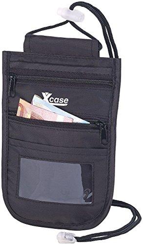 Xcase Brusttasche: Unisex-Brustbeutel mit RFID-Schutz, Reise-Organizer, 4 Fächer, Schwarz (RFID-Schutzetui)