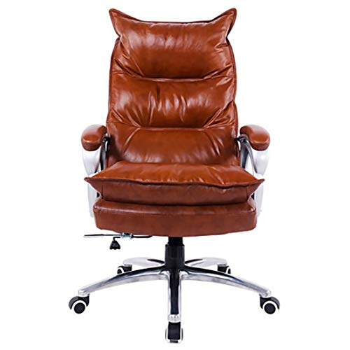 YGB Chef-Stuhl Bürostuhl Gaming Stuhl Ergonomisches Design 360°Drehbare Höhenverstellbarer Schreibtischstuhl mit Armlehnen Kippmechanismus PU Leder Büro Studierzimmer (Amber) -