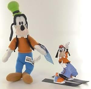 Disney Mickey Pack Figurine Dingo Skieur + Peluche 28 cm