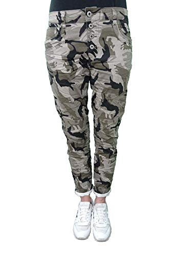 Karostar by Lexxury Denim Stretch Baggy-Boyfriend-Jeans Boyfriend 4 Knöpfe offene Knopfleiste weitere Farben (3XL-46, Camouflage)