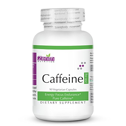 Zenith Nutrition Caffeine 200mg Supports Focus, Energy, Endurance – 90 veg capsules