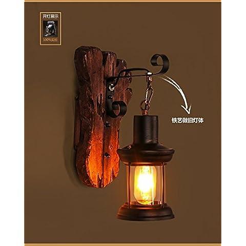 ZQ@QX Parete decorativa tradizionale semplice hotel café ristorante lampada da parete Lampade da parete in legno massello, ferro battuto lampada da parete retrò