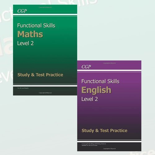 Functional Skills Level 2 Study & Test Practice Collection 2 Books Set (Functional Skills Maths Level 2 - Study & Test Practice, Functional Skills English Level 2 - Study & Test Practice)