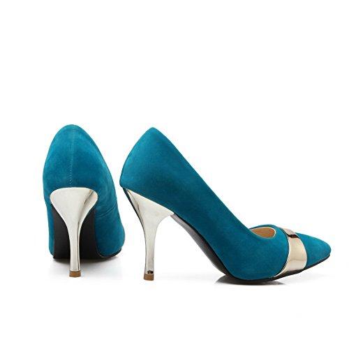 balamasa Mesdames talon Fashion cone-shape couleurs assorties Imitation cuir pumps-shoes Bleu