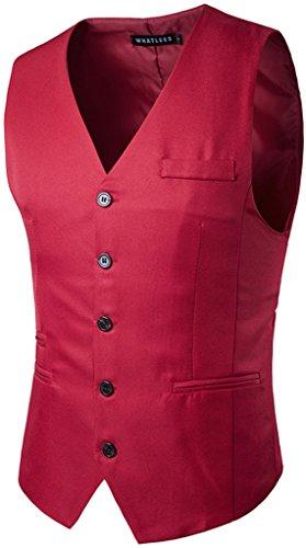 Whatlees Herren Schmale Weste aus strukturiertem Material in Versch.Farben B422-Red