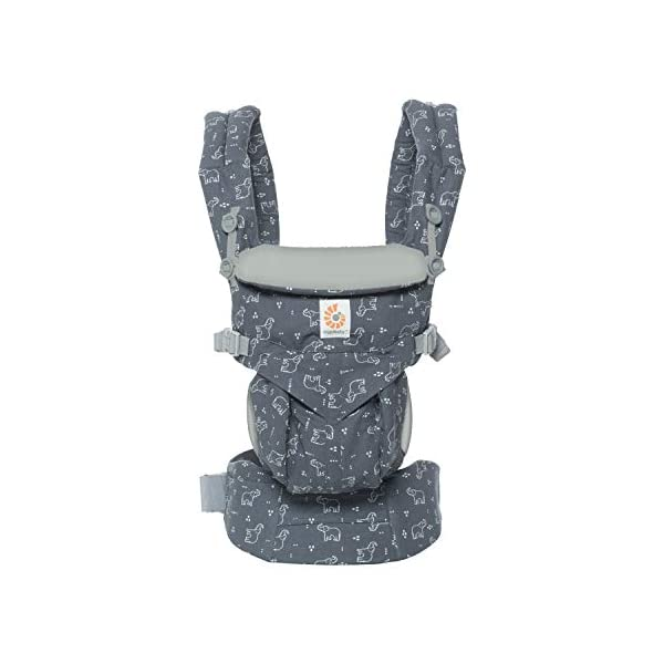 "Ergobaby Baby Carrier Backpack for Newborn to Toddler, 4-Position Omni 360 Trunks Up, Ergonomic Child Carrier Ergobaby Baby carrier with 4 ergonomic wearing positions: parent facing, on the back, on the hip and on the front facing outwards. Supports hip-healthy ""m"" shape position for baby's comfort and ergonomics. Adapts to baby's growth: Infant baby carrier newborn to toddler (7-33 lbs./ 3.2 to 20 kg), no infant insert needed. Tuck-away baby hood for sun protection (UPF 50+) and privacy. NEW - Maximum comfort for parent: Longwear comfort with lumbar support waistbelt and extra cushioned shoulder straps. 3"