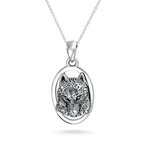 Bling Jewelry 925 Sterling Silver Oval Frame Oxidized Wolf Head Pendant Necklace 18in