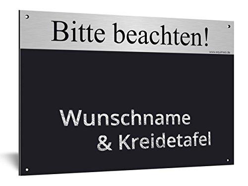 Equimea Boxenschild, KREIDETAFEL & Wunschtext, Pass. 20x30cm, Gold oder Silber, Stallschild, Stalltafel, Alu-Verbund, Wetterfest (Silber, gebürstet)