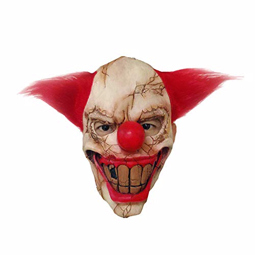 ace Clown Maske Halloween Weihnachten Horror Latex Maske Funny Dance Party Performance Requisiten Maskerade Cosplay,Red-OneSize ()