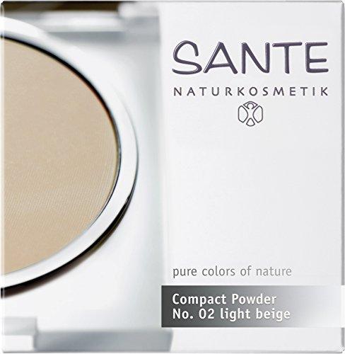 SANTE Naturkosmetik Compact Powder Nr.02 Sand, Mittlerer Hautton, Perfektes Finish durch Mineralpigmente, Sanft mattierter Teint, 9g
