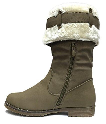 S2A neuf pour femme Semelle épais matelassé en imitation fourrure Mi-Mollet Bottes Chaussures - Khaki.