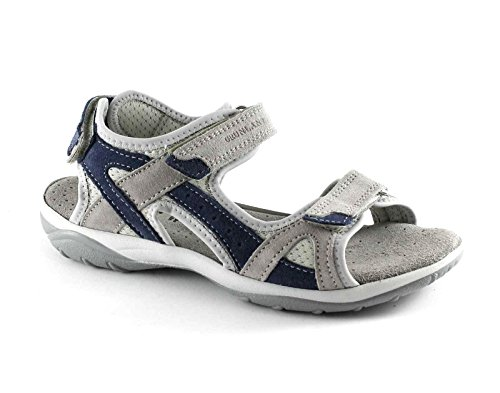 GRUNLAND OLLY SA0524 blu perla grigio sandali donna sportivo strappi pelle Grigio