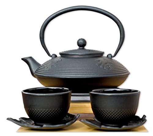 Dessous de plat feuille Cups & Théière en fonte Noir/motif calligraphie 0,8 l style japonais