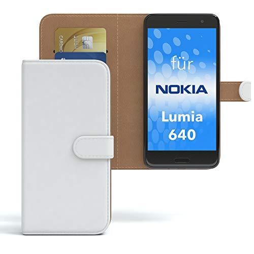 EAZY CASE Hülle für Nokia Lumia 640 Dual SIM Bookstyle mit Standfunktion, Book-Style Case aufklappbar, Schutzhülle, Flipcase, Flipstyle, Flipcover mit 2 Kartenfächern aus Kunstleder, Weiß