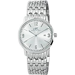 Adee Kaye Unisex Dome 40mm Steel Bracelet & Case Quartz Silver-Tone Dial Analog Watch AK8224-LWT
