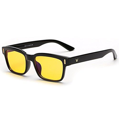 Volle Randbrille ergonomisches Design Computer Gaming mit gelb getönten Gläsern Blaulicht-Schutz Bildschirmbrille