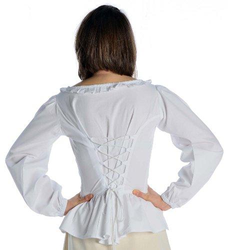 HEMAD Damen Bluse mit Rüschen zum Schnüren Langarm Baumwolle - Mittelalter S-XXXL Weiß