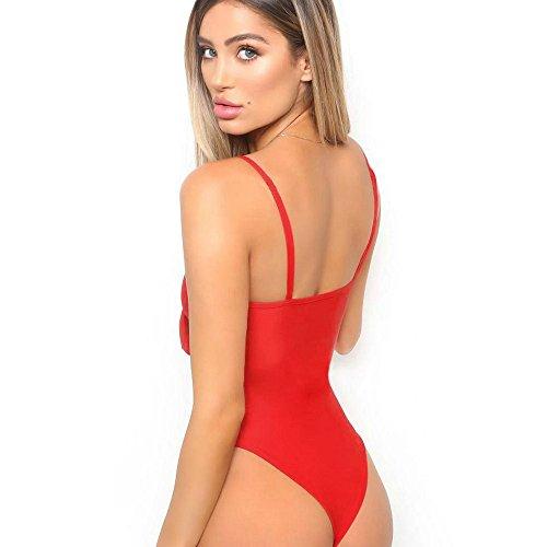 maillots de bain Femmes,Bowknot Solide bikini set 1 pièce Taille élevée Maillots-Lonshell Rouge