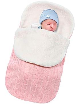Basumee Neugeborenes Baby Gestrickt Wickeln Decke Säuglinge Baby Pucksack Winter Plüsch Schlafsack für 0-12 Monat...